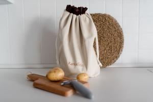 Kartoffelbeutel aus Baumwolle natur/braun 36 x 37 cm