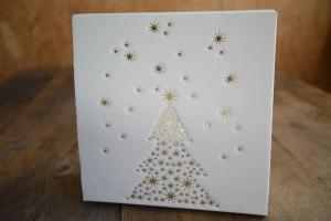 Geschenkkarton Weihnachten weiß/ Prägedruck goldfarben