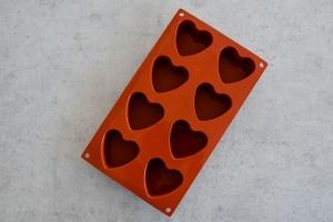 Herzen Backform für 8 Herzen Ø 6 cm, Silikon