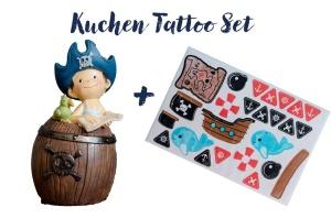 Kuchen Tattoo Set, Pirat mit Spardose Pirat
