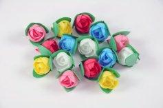 Oblaten-Rosen klein mit Blatt, bunt sortiert, 16 Stck.