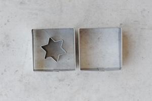 Linzer Ausstecher Quadrat mit Stern, 2-teiliges Set, 37x37m