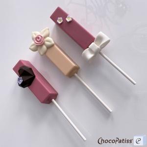 Schokoladenform Lollipop eckig, 8x2,2x2,2 cm