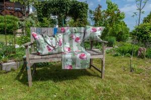 Tischläufer, Rose m. Hortensie, Dralon Outdoor, 130x42 cm