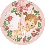 Baby/Taufe, Mädchen, Zucker-Aufleger, Ø 22 cm