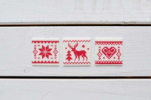 Wintermotive rot aus Zucker, 3-fach sortiert 3x3cm, 12 Stück