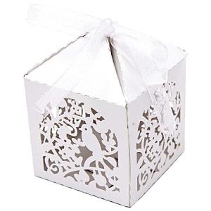 Pralinenschachtel Vogel, Box, weiß, 3 Stk., 5x5x7 cm