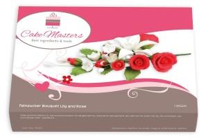 Zucker-Blumenbouquet Rosen rot, 18 cm