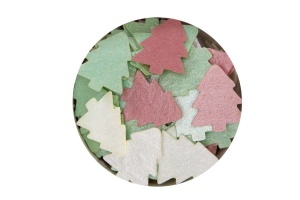 Streudekor Tanne, Esspapier, rot/grün/perlmutt, 20 mm, 3 g