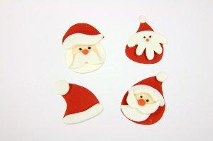 Weihnachtsmann-Set, Zucker-Aufleger, ca. 4 cm, 12 Stück