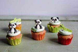 Pandabären - Set aus Zucker, 6 Stück