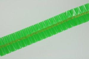Rüschenband mit Goldborte  -grün- 5 cm breit  -  Meterware