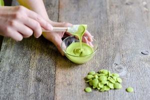 Schmelzschokolade apfelgrüne Fettglasur, 250 g