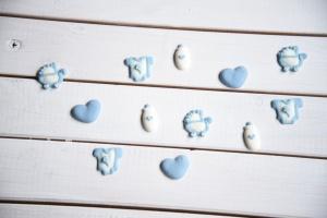 Baby-Motive blau aus Zucker, 12 Stück, ca. 3 cm