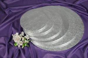 Cake Board / Tortenplatte, Ø 25cm, 1,2 cm silberfarben
