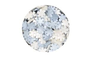 Zuckerdekor/Streudekor Schneeflocke, weiß/ blau, 40 g