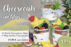 Weck-Sturzgläser Mini 12 Stück + 500g Hobby-Cheesecake