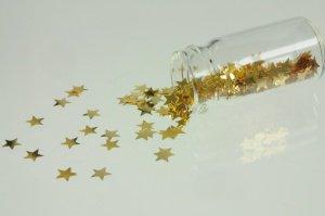 Gold-Sterne 24 Karat 3 mm, im Fläschchen