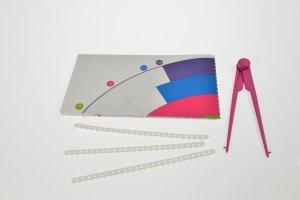 Zirkel für Fondant, 3 Markierungsbänder und Mustervorlage