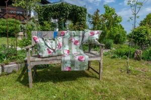 Markttasche, Rose m. Hortensie, Dralon Outdoor, 38x55x18 cm