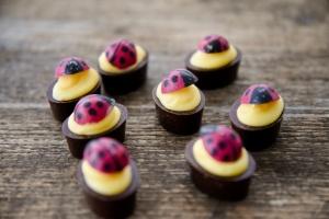 Marienkäfer - Schoko-Aufleger aus weißer Schokolade 24 Stück