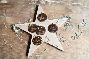 Schoko-Aufleger Weihnachtskugeln, Ø 3,8 cm, 12 Stück