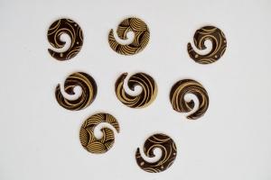 Kringel mit goldfarbenem Dekor, dunkle Schokolade, 35 Stück
