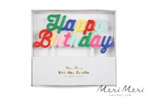 Meri Meri Geburtstagskerze Happy Birthday, 1 Stk., 10x11,5cm