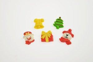 Modellierform Weihnachten aus Silikon, 5 Motive 10,5 x 7 cm