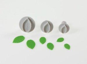 Rosenblattformer-Set mit Auswerfer  2,5 + 3 + 4 cm