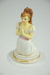 Kommunion-Mädchen, kniend aus Polyresin, ca. 11 cm