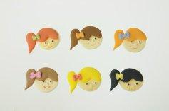 Mädchen mit Schleife, Zucker-Aufleger, ca. 2,5 cm, 12 Stück