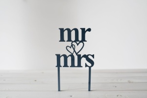 Cake Topper Mr & Mrs, 10 x 10 cm hoch, schwarz