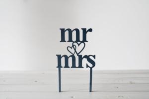 Cake Topper Mr & Mrs, 10 x 10 cm hoch, schwarz