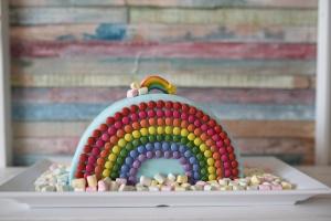 Ausgewählte Zutaten für Regenbogen Torte