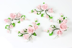 Zucker-Rosen rosa, 4 Stück á 13 cm