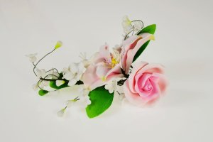 Zucker-Lilie mit Rose rosa, 21 cm
