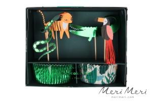 Meri Meri Cupcake Kit Dschungel, Muffinform + Deko