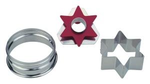 Linzer Ausstecher Stern mit Auswerfer, 6 Zacken, Ø 4,8 cm