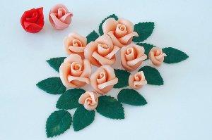 Rosenset lachs aus Marzipan 9 Rosen + 14 Blätter