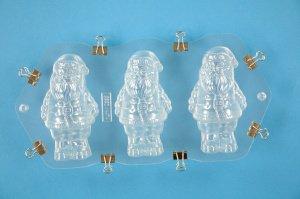 Schüttelform Weihnachtsmänner für 3 kleine Figuren 9 cm