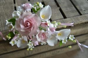 Zucker-Blumenbouquet rosa, Rosen und Calla, 27 cm