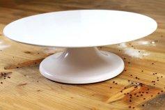 Tortenplatte 32 cm weiß drehbar mit Fuß, Melamin, 10 cm hoch