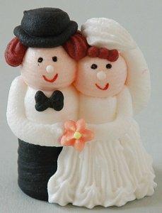Brautpaar aus Zucker, mit lachsfarbener Blüte, 6 cm