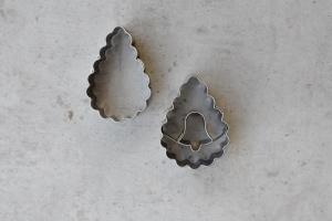 Linzer Ausstecher Tropfen gew., 2teiliges Set, 4,4x3,2 cm