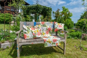 Kissenbezug, Rosengarten, Dralon Outdoor, 40x40 cm
