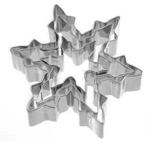 Schneeflocken-Ausstecher-Set, 3-teilig, aus Edelstahl