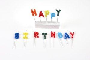 Happy-Birthday-Kerzen, 13 Stück, farbig sortiert/gepunktet