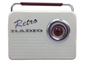 Blechdose Retro Radio, beige, 255x185x99 mm, 4700 ml
