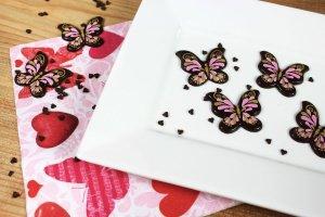 Schoko-Aufleger Schmetterlinge, dunkle Schokolade, 28 Stück